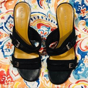 Ellen Tracy Black Slip On Sandals. Sz 9